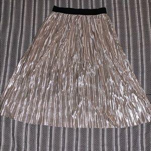Exhilaration Metallic Elastic Waist Midi Skirt